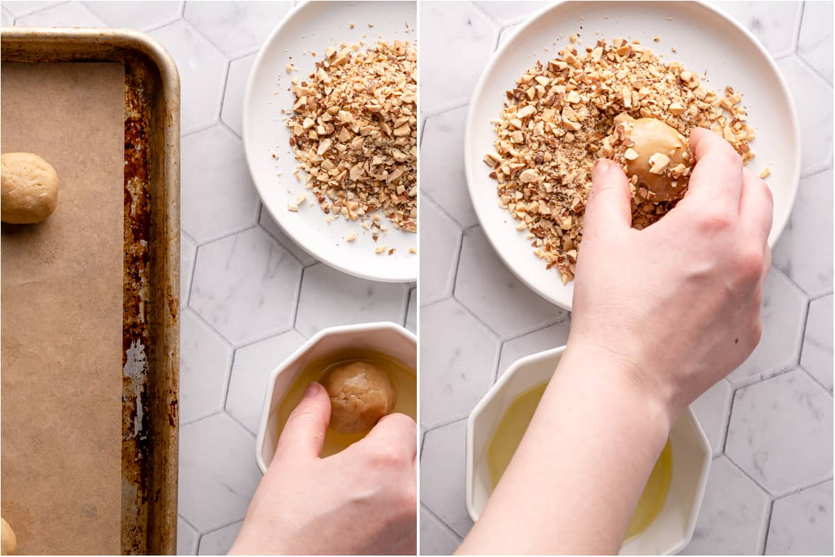 collage of cookie dough balls being rolled in egg white and nuts