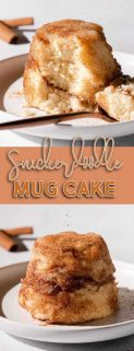 collage of snickerdoodle mug cakes with center text