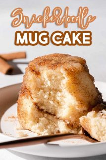 side view of snickerdoodle mug cake with text overlay