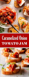 caramelized onion tomato jam collage with text in the center