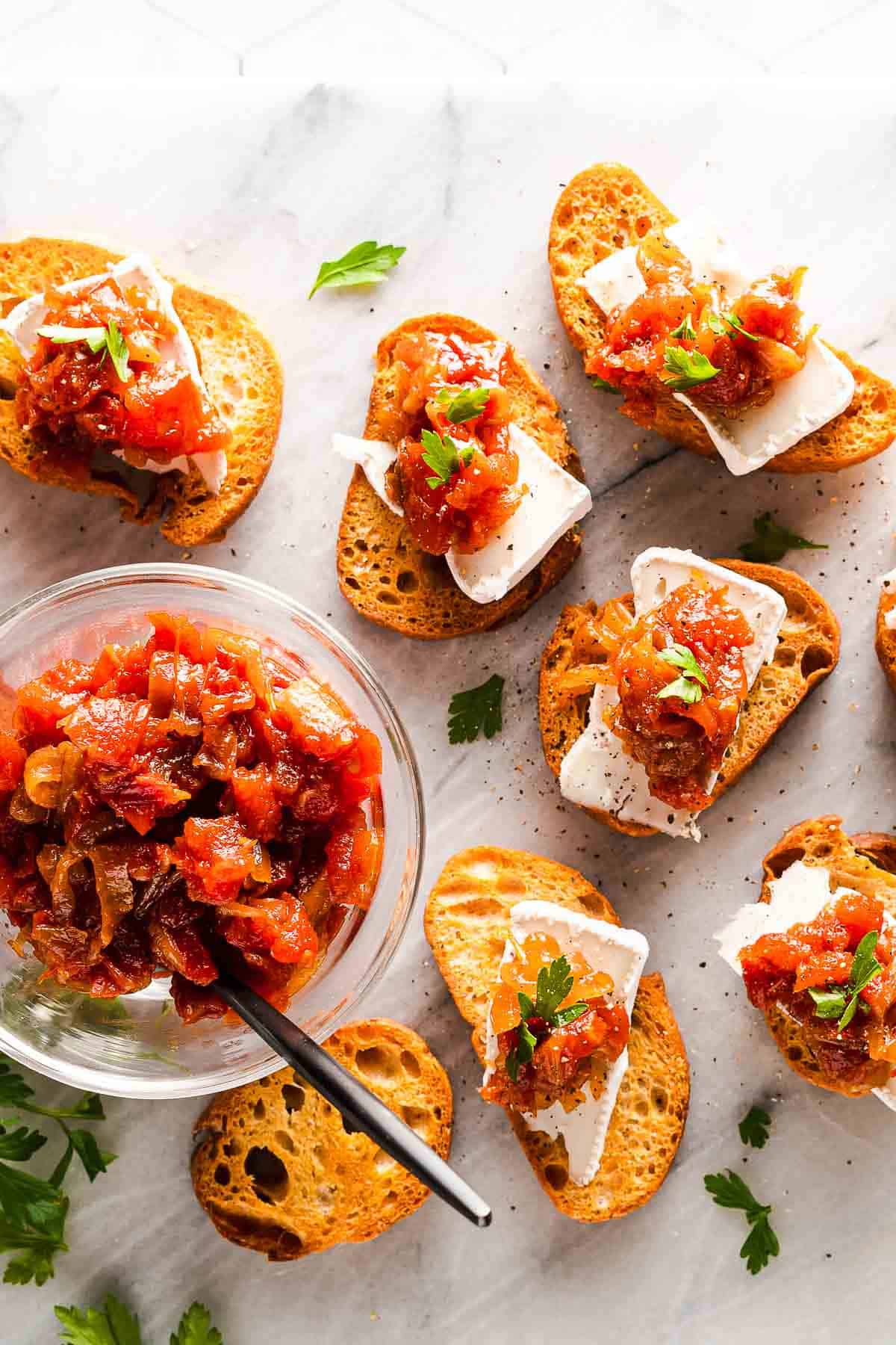 Caramelized Onion and Tomato Jam on Crostini