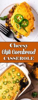 Cheesy chili cornbread casserole collage with text in the center