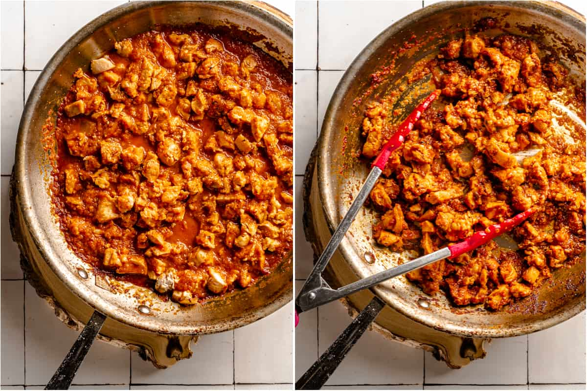collage of chipotle chicken in pan before and after simmering