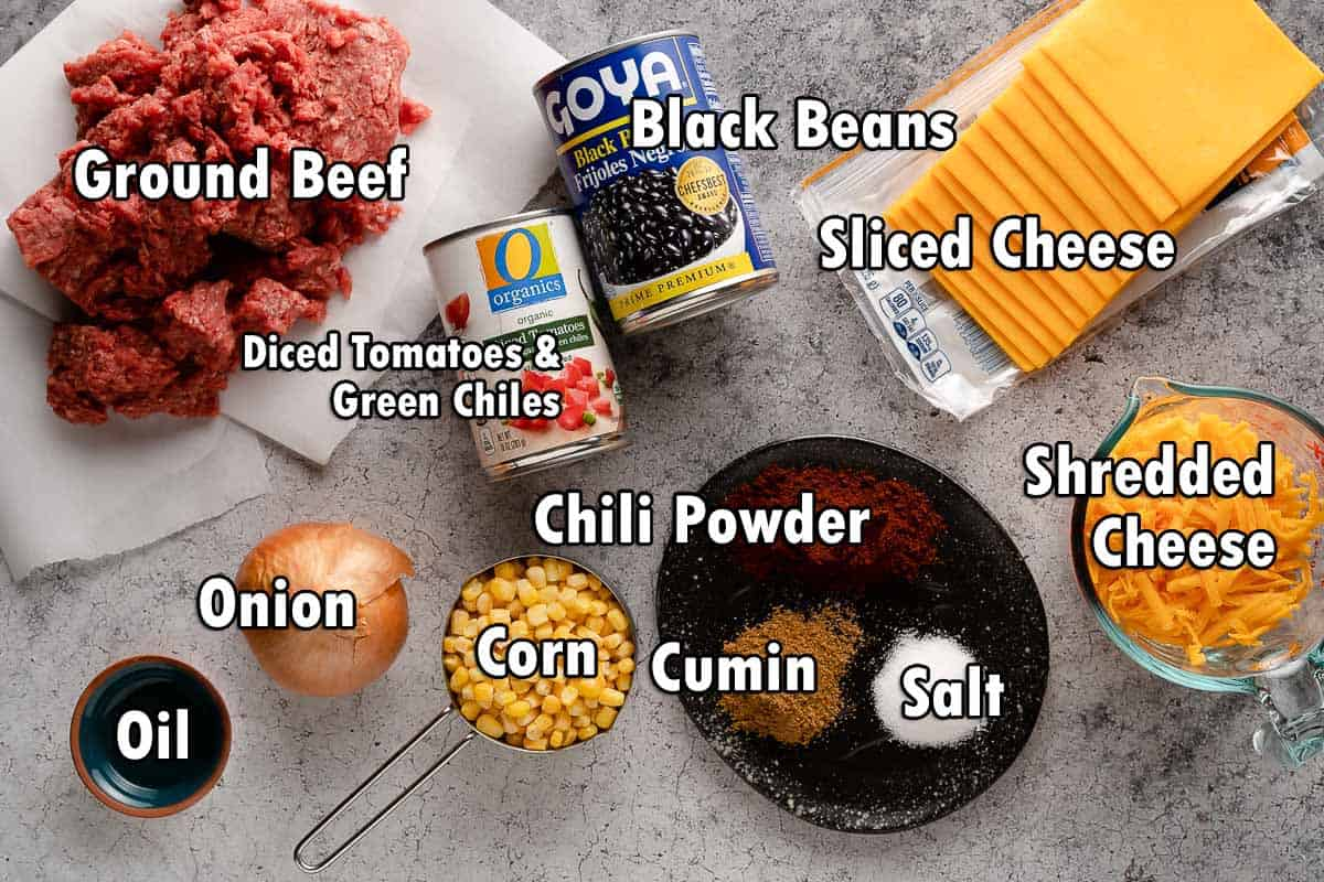 Ingredients for chili layer with text overlay
