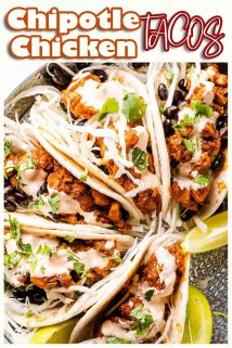 Chipotle Chicken Tacos in tray with text at the top