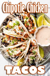 Chipotle Chicken Tacos with text at top and bottom