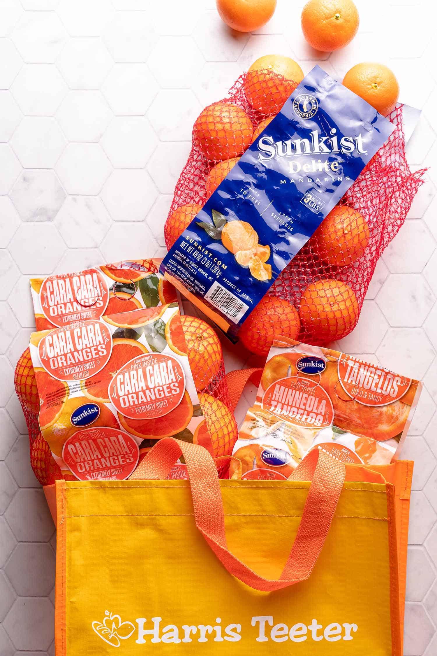 bags of citrus in Harris Teeter Shopping Bag