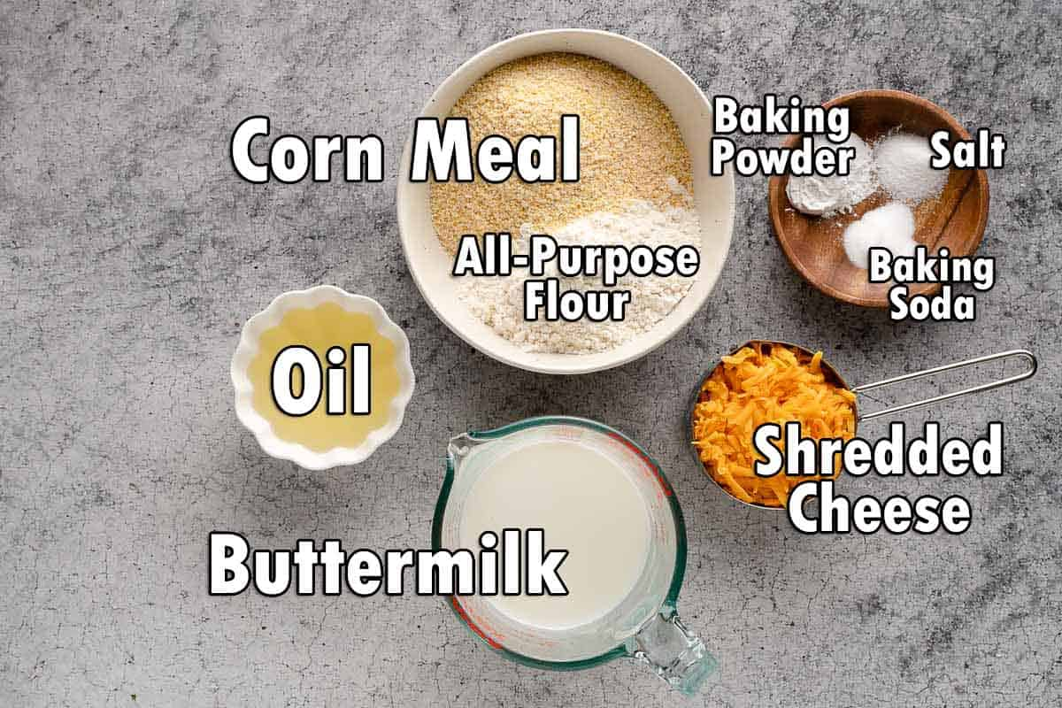 ingredients for cornbread layer with text overlay
