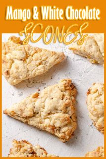 mango and white chocolate scones on white background with text at the top