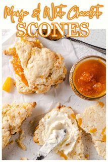 mango white chocolate scones with text at the top