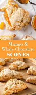 collage of mango white chocolate scones with text in the center