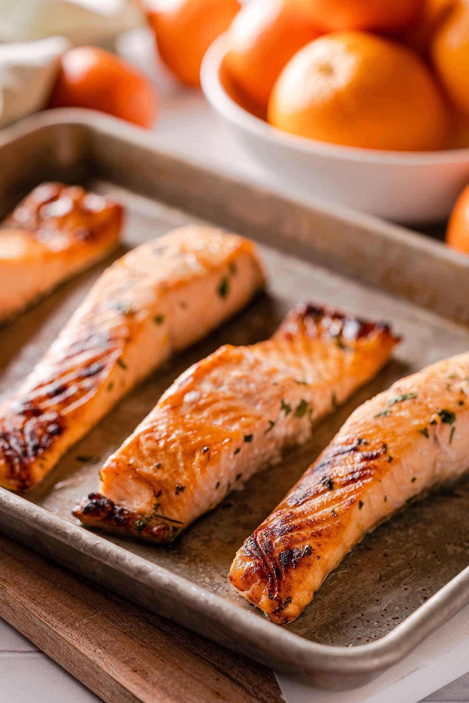 broiled salmon on baking sheet