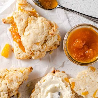 mango white chocolate scones with jam