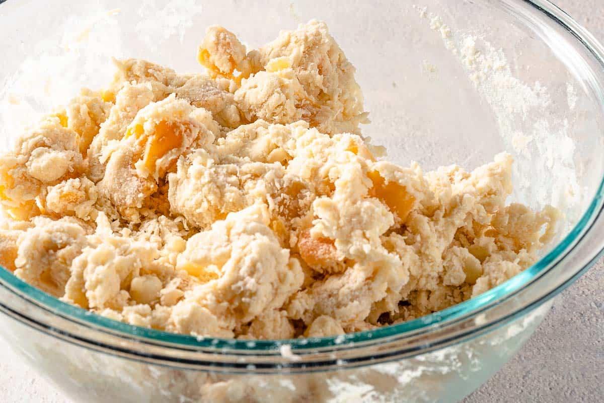 scone dough in glass bowl