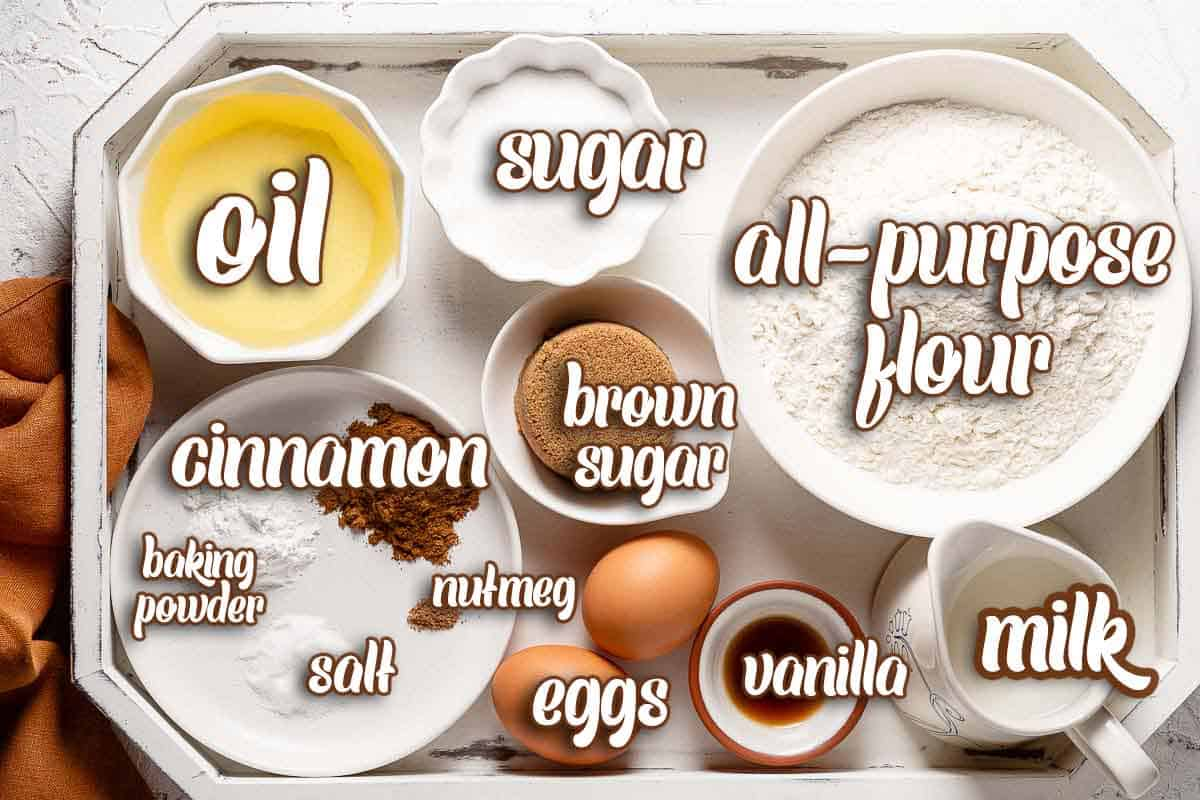 ingredients for cinnamon muffins with text overlay