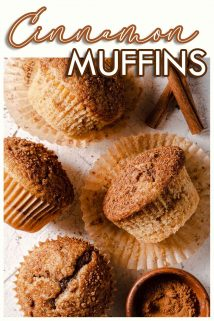 muffins with wrappers peeled off and text overlay at the top