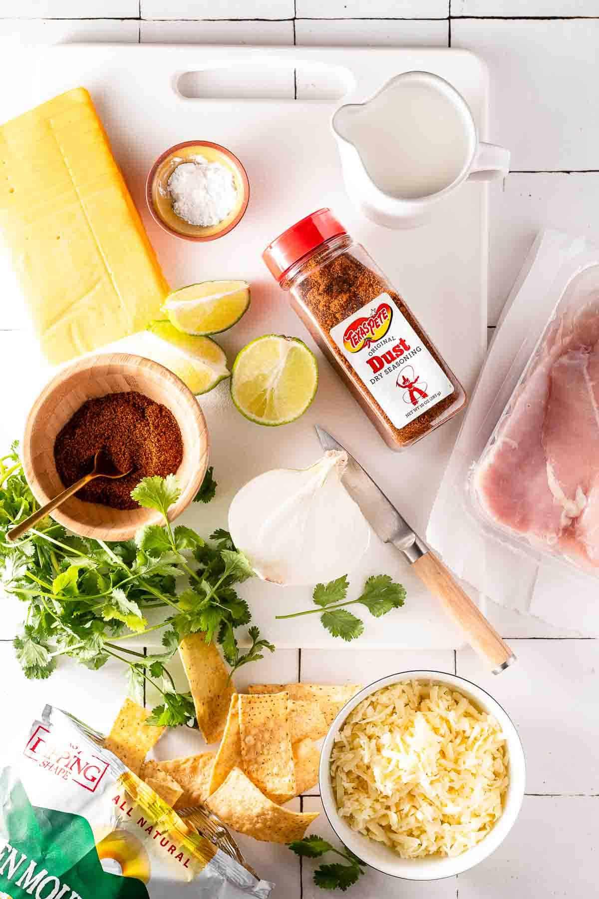 recipe ingredients on cutting board