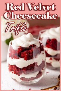 red velvet cheesecake trifles with text at the top