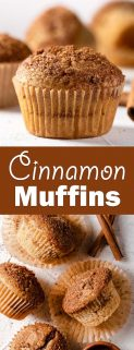 collage of cinnamon muffins with text in the center