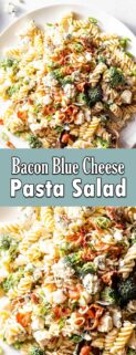 collage of bacon blue cheese pasta salad with text in the center