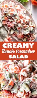 collage of tomato cucumber salad with text in the center