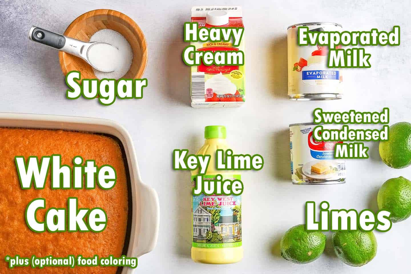 ingredients for key lime poke cake with text overlay