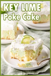 slices of key lime poke cake with text overlay