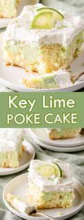 collage of Key lime poke cake slices with text in the center