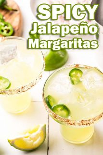 two spicy margaritas with text overlay