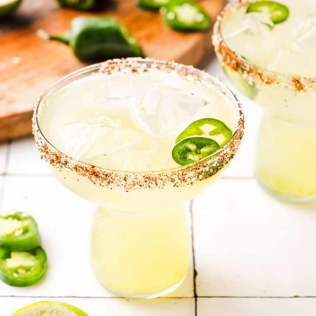 spicy margaritas in 2 glasses