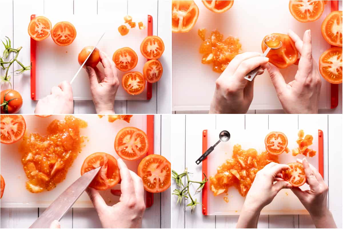 collage of seeds being scooped out of tomatoes