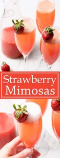 collage of strawberry mimosas with text in the center