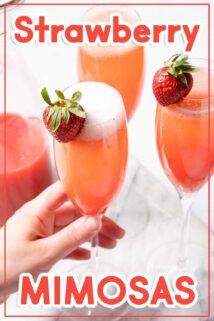 hand holding strawberry mimosa with text overlay