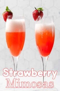two strawberry mimosas with text overlay