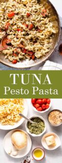 collage of pesto pasta and recipe ingredients with text in the center