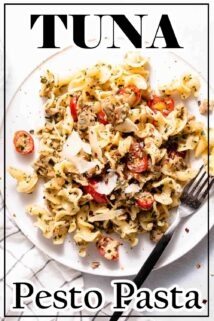 pesto pasta on white plate with text overlay at top and bottom