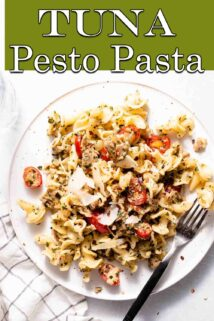 pasta on white plate with text overlay at the top