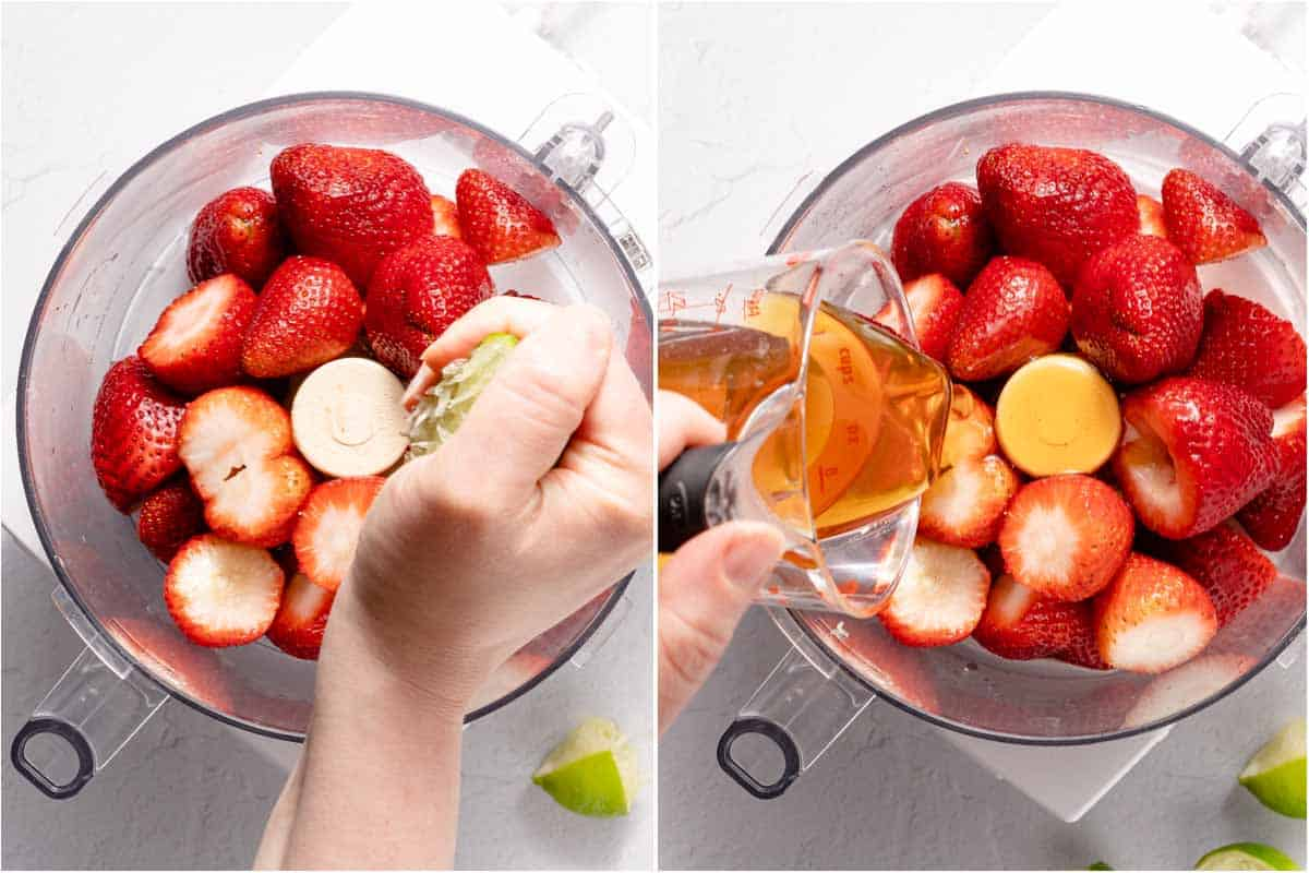 collage of lime juice and honey being added into food processor with strawberries