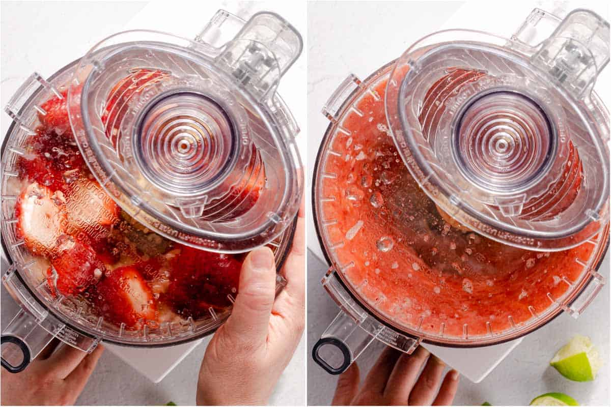 collage of strawberry mimosa juice being blended in food processor