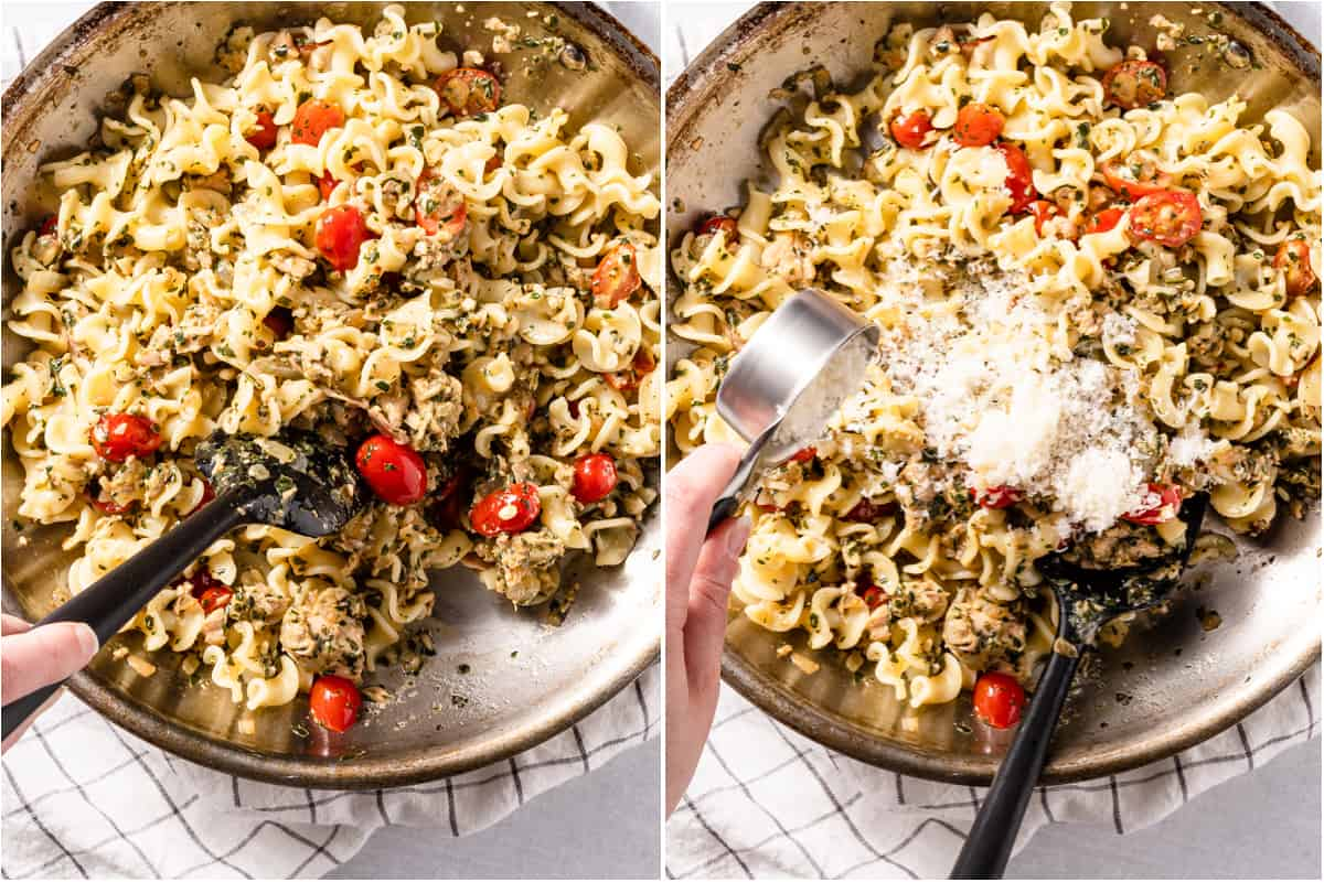 collage of stirring pesto into tuna and adding parmesan cheese into pan