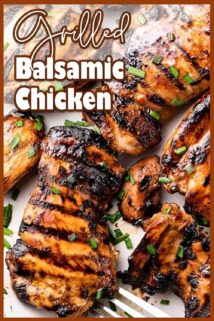 Grilled balsamic chicken with text overlay