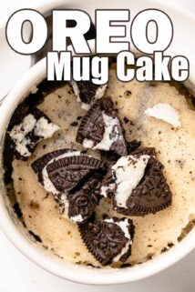 mug cake with crumbled Oreos on top and text overlay