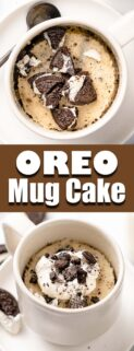 collage of Oreo mug cake in white mug with text in the center