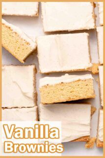 vanilla brownies on parchment paper with text overlay