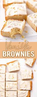 collage of vanilla brownies with text in the center