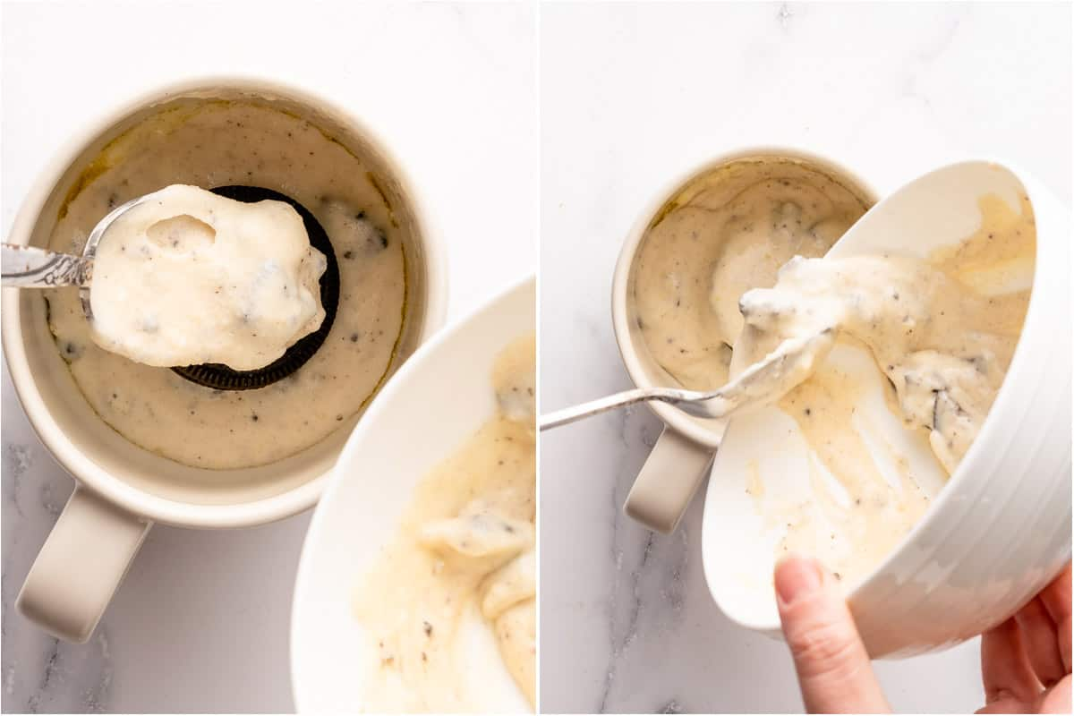 remaining cake batter being added on top of Oreo in mug