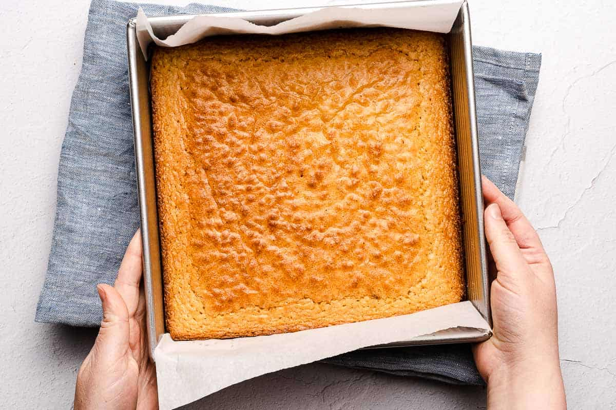 baked vanilla brownies in pan