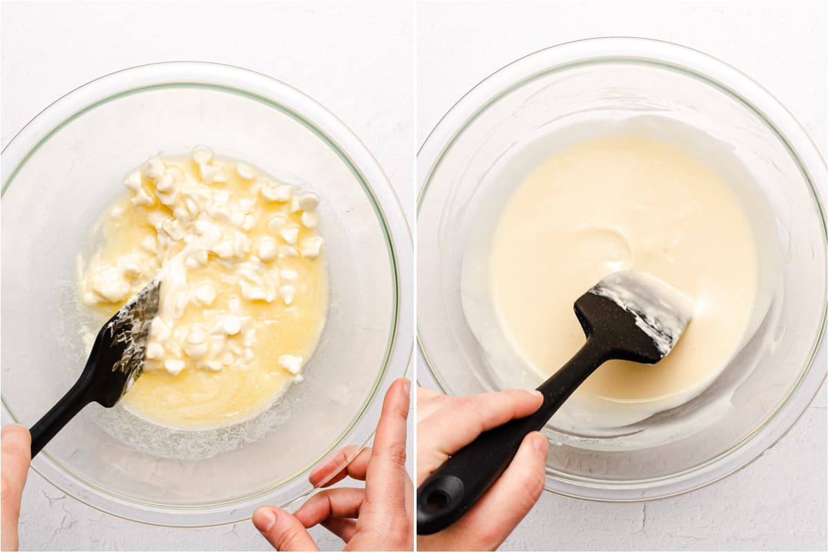 melted white chocolate being mixed with melted butter