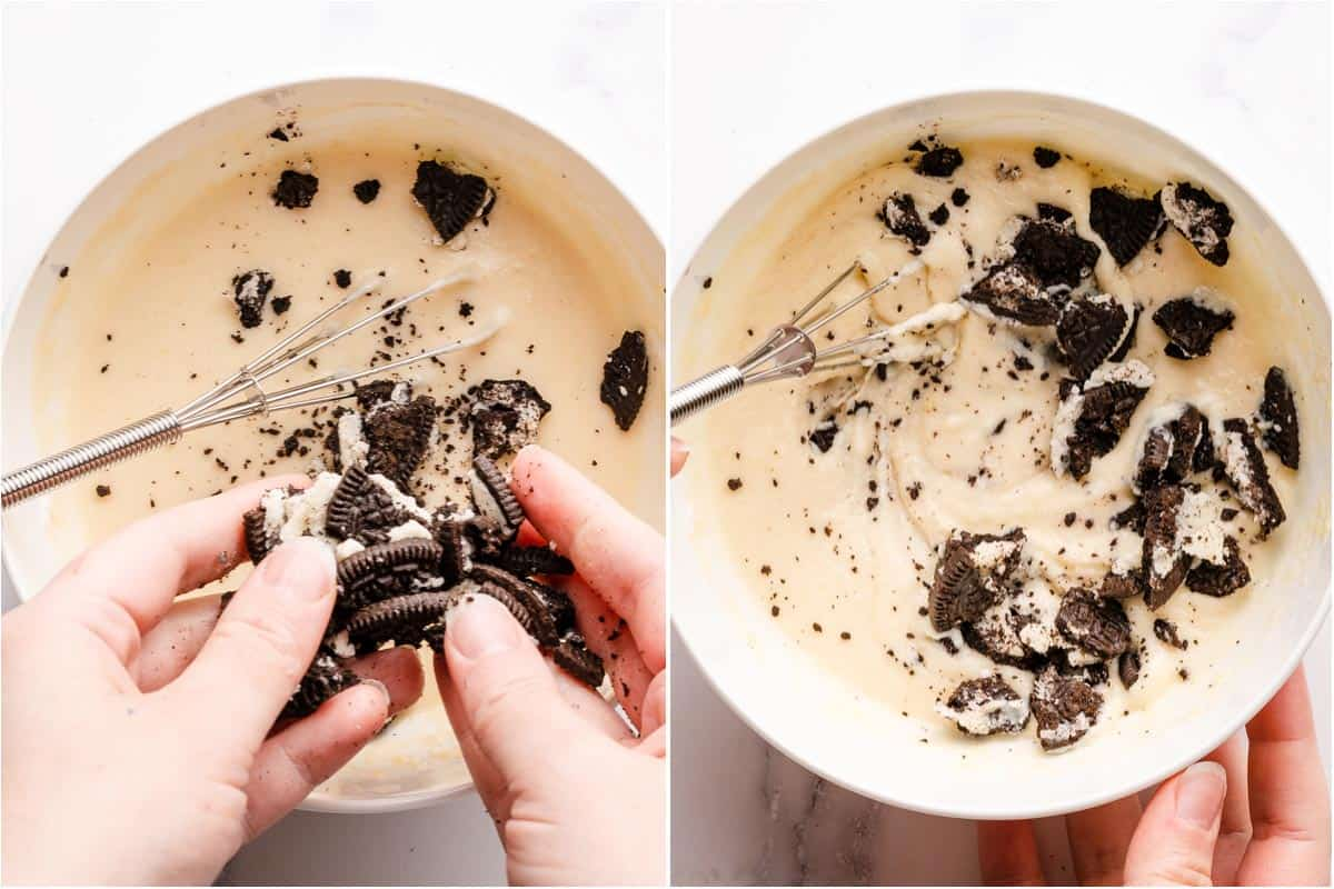 collage of Oreos being crumbled and whisked into cake batter