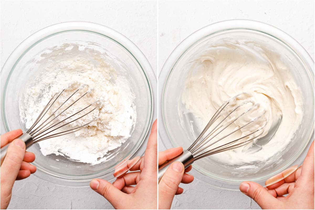 collage of icing being whisked in a bowl